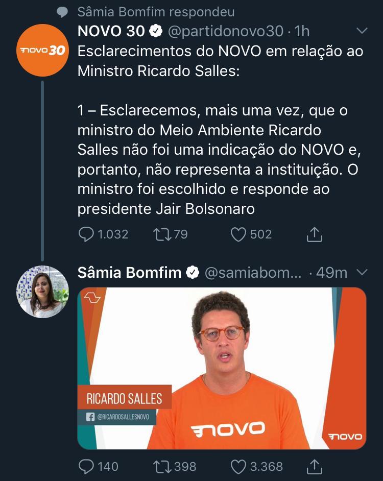 WhatsApp Image 2019 08 22 at 19.10.05 - Novo, partido de Ricardo Salles, diz que ministro 'não representa a instituição' e que não o indicou para o cargo