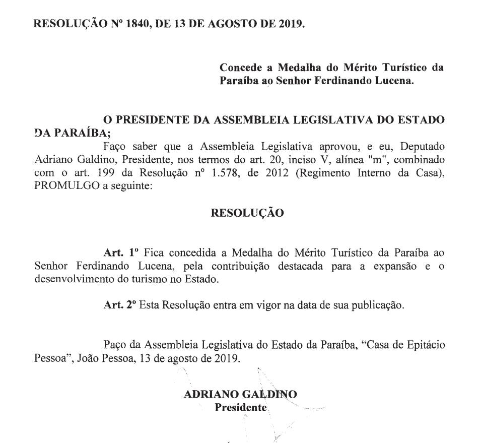 WhatsApp Image 2019 08 27 at 19.46.34 - Adriano Galdino concede 'Medalha do Mérito Turístico da Paraíba' ao gestor do Centro de Convenções Ferdinando Lucena