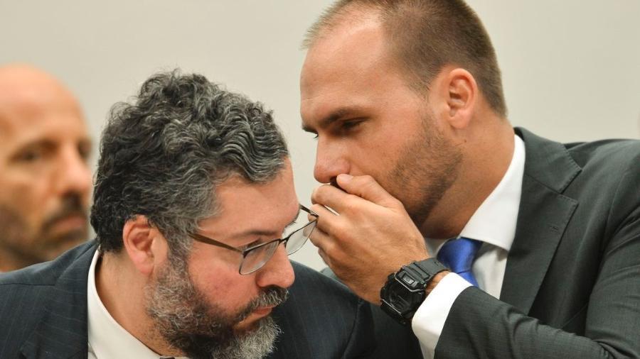 chanceler e Eduardo - Bolsonaro anuncia que filho irá aos EUA se reunir com Trump