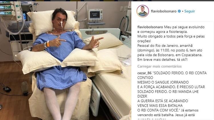 filho de bolsonaro posta primeira foto dele sentado em hospital 1536420238689 v2 750x421 - EMENDAS IMPOSITIVAS: Hospital que operou Bolsonaro após facada fica sem R$ 2 mi que ele prometeu