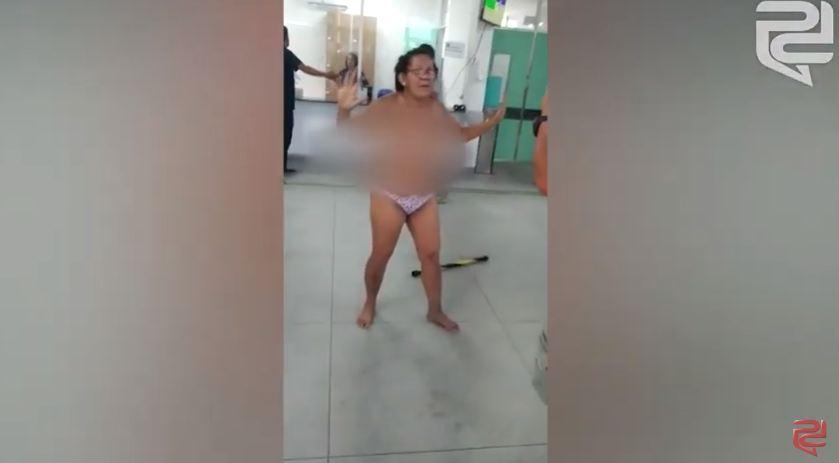 mulher pelada upa bancários - Mulher 'surta' em Upa dos Bancários e tira a roupa na recepção -VEJA VÍDEO