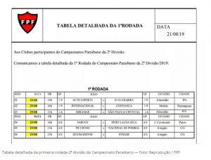 tabela 300x228 - Locais e horários dos jogos da primeira rodada da 2ª divisão são divulgados pela FPF
