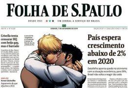 Pedido de Crivella para recolher livro que mostra beijo gay é repudiado e ganha capa da Folha de São Paulo