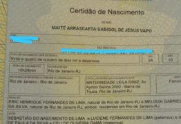 Pai homenageia Flamengo com nome da filha recém-nascida