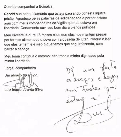 carta lula - 'Nos prenderam por alimentarmos o povo com a ousadia de lutar', diz Lula à militante por moradia solta em SP