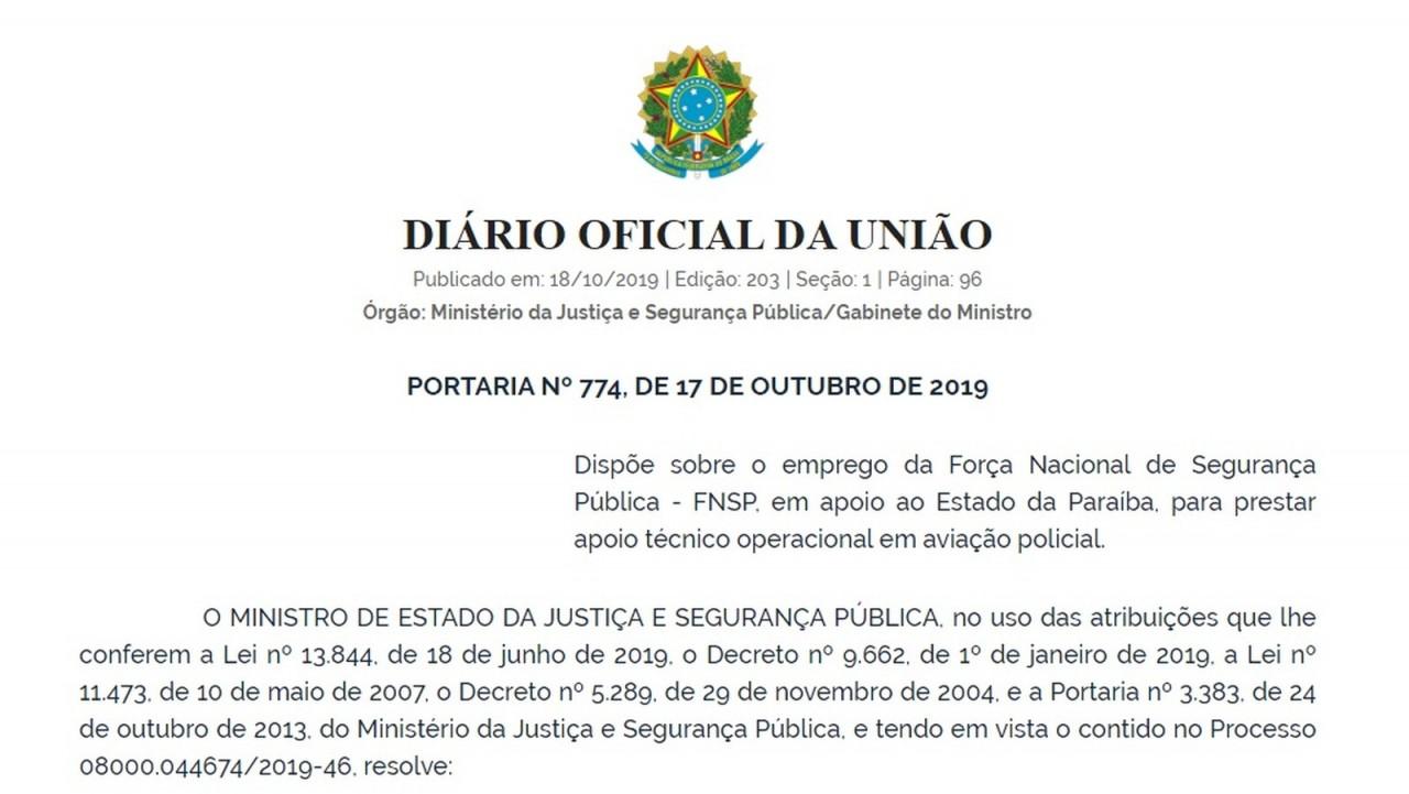forca nacional paraiba 1 - Sérgio Moro autoriza uso da Força Nacional na Paraíba