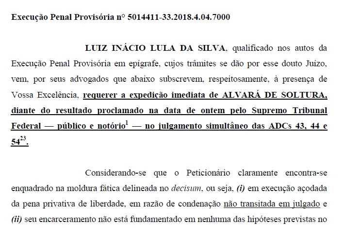 75642408 2884552898246020 4635075486903435264 n - Defesa de Lula pede à Justiça Federal que ele seja solto; Veja documento