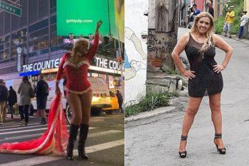 1 ritacadillac montagem 14750099 360x240 - Rita Cadillac posa vestida de Mamãe Noel em NY e ainda vira estrela de clipe