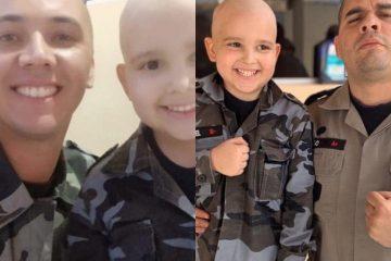 Policiais raspam o cabelo em apoio à criança que luta contra o câncer, na Paraíba