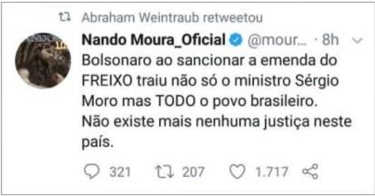 """MENSAGEM MINISTRO - """"SEM QUERER"""": Weintraub compartilha mensagem que diz que Bolsonaro traiu Moro e o povo"""