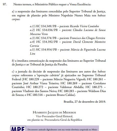 MPF - EXCLUSIVO: MPF recorre ao STF e pede prisão 'urgente' do ex-governador Ricardo Coutinho; LEIA