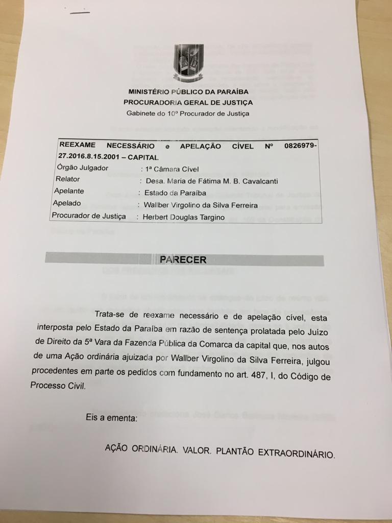 WhatsApp Image 2019 12 03 at 18.11.15 - Após apelação de Governo do Estado, MP emite parecer para que policiais civis recebam plantões com base em remuneração - ENTENDA