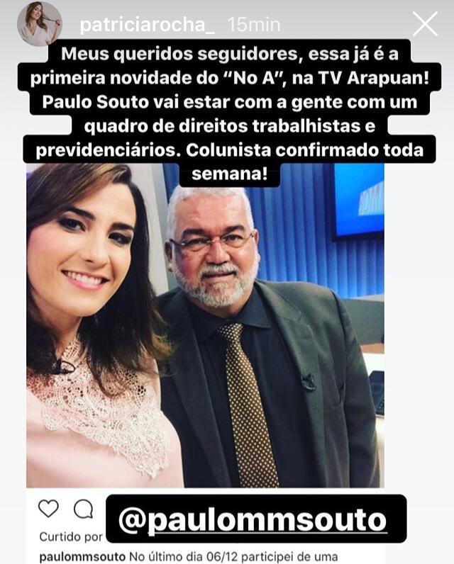 WhatsApp Image 2019 12 14 at 18.27.44 - 'NO A': Colunista que pediu demissão ao vivo é confirmado em novo telejornal de Patrícia Rocha, na Arapuan