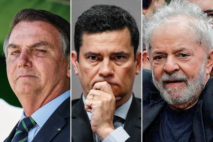 bolsonaro moro lula - PESQUISA VEJA/FSB: se eleições presidenciais fossem hoje, Lula perderia para Bolsonaro ou Sérgio Moro no 2º turno