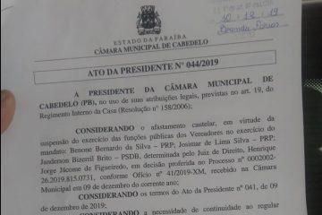 Titulares afastados pela Xeque-Mate: Câmara de Cabedelo convoca novos suplentes para tomar posse