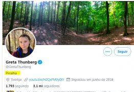 Após ser ofendida por Bolsonaro ativista Greta Thunder adota o xingamento 'PIRRALHA' no Twitter