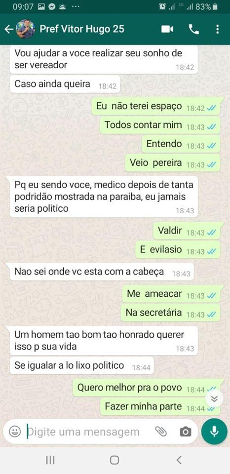 83189042 2716968305036909 4612915749168611328 o - BOMBA: ameaças e interferências vazam em conversa de Whatsapp entre prefeito de Cabedelo e ex-secretario de saúde - CONFIRA