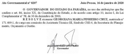Capturar 39 - Governador da PB exonera esposa do presidente do TCE, envolvida na Operação Calvário