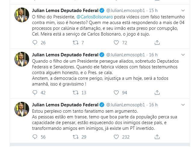 Capturar18 - Julian Lemos acusa Carlos Bolsonaro de colocar democracia brasileira em perigo