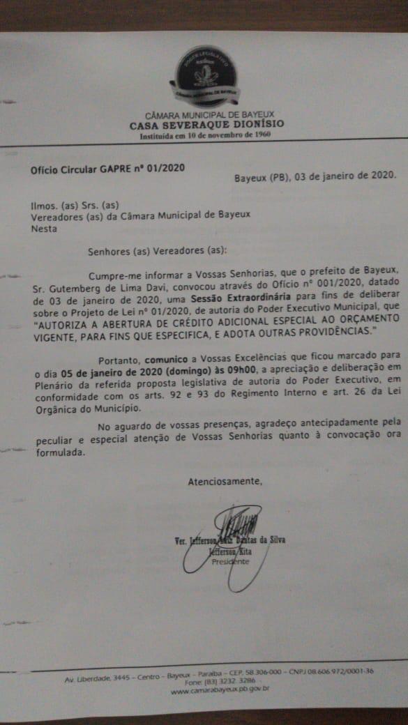 WhatsApp Image 2020 01 04 at 11.34.20 - Presidente da Câmara de Bayeux marca sessão extraordinária para apreciar crédito especial