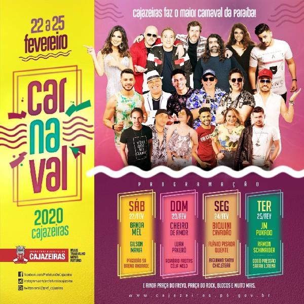 WhatsApp Image 2020 01 20 at 20.20.09 - Carnaval de Cajazeiras: Biquini Cavadão, Banda Mel e Cheiro de Amor serão as principais atrações deste ano