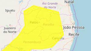 alerta amarelo 300x169 - Inmet emite novo alerta de chuvas intensas para 69 cidades do Sertão da Paraíba