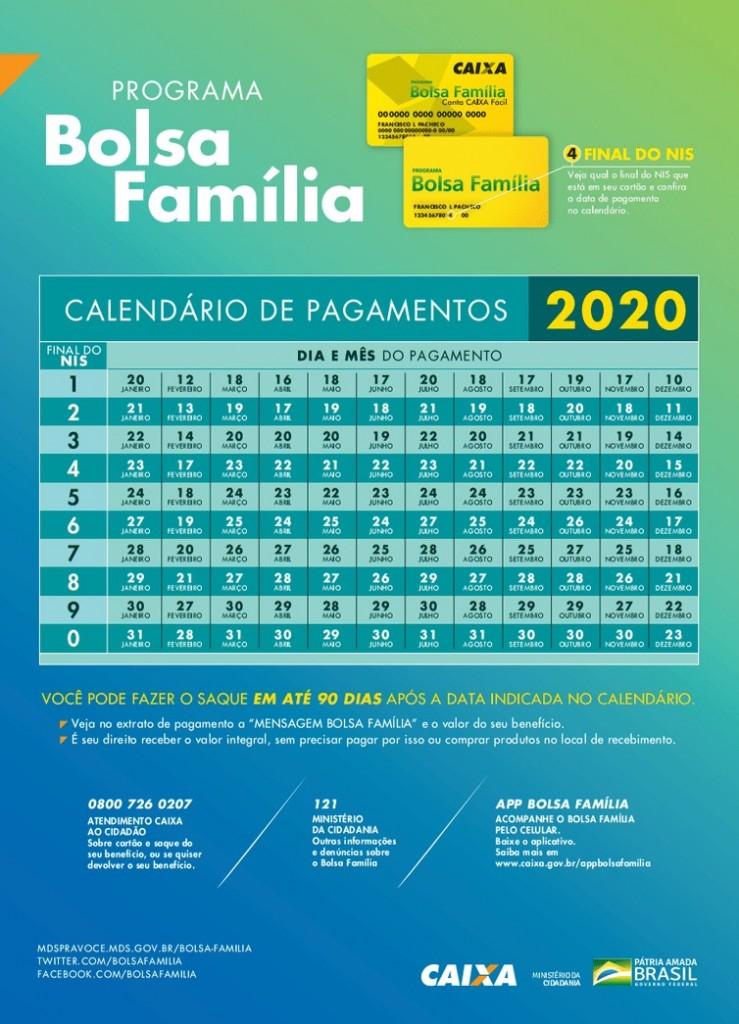 calendario bolsa familia 2020 - Divulgado o calendário de pagamento do Bolsa Família para 2020