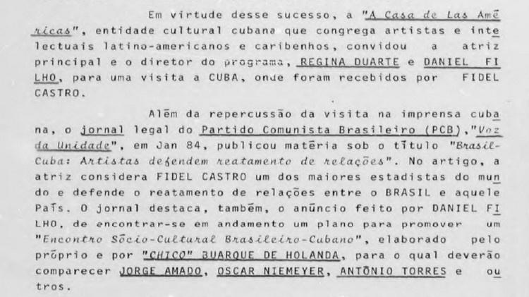 reproducao documento ditadura regina duarte 1579562020304 v2 750x421 - Monitorada, Regina Duarte era vista como militante de esquerda pela ditadura