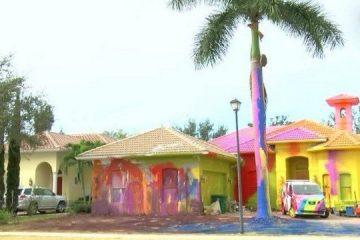 Vizinhos processam proprietário de residência por inusitada pintura de 'desenho animado'
