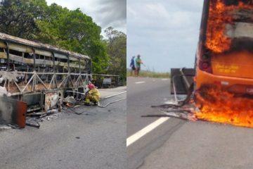 nibus pega fogo 360x240 - Ônibus da Rio Tinto com 30 passageiros pega fogo na BR-230 - VEJA VÍDEO
