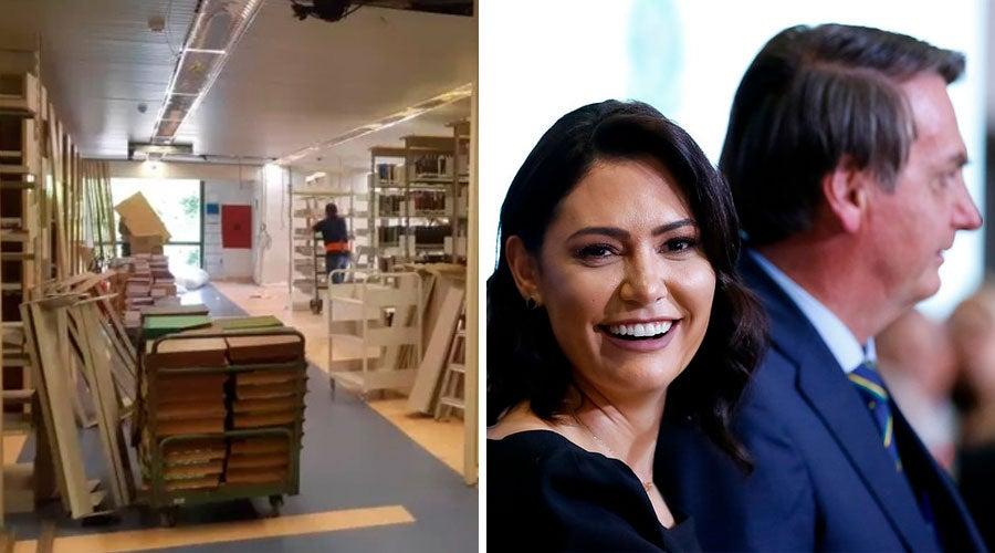 Bolsonaro desmonta biblioteca do Planalto para criar gabinete de Michelle com banheiro privativo