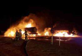 Equipes do Corpo de Bombeiros de quatro cidades se unem para combater incêndio em Mari