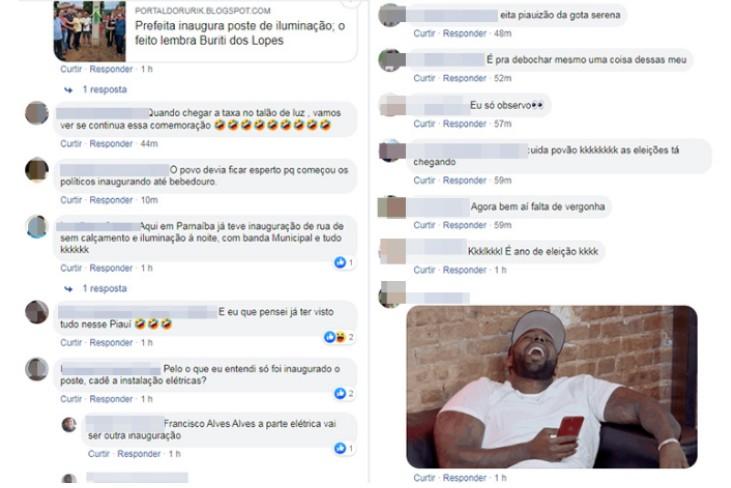 redes inaugura poste - Prefeita de município do Piauí inaugura poste de energia e vira piada na web