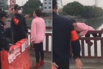 Chinesa sem máscara barrada em bloqueio contra coronavírus pula de ponte – VEJA VÍDEO