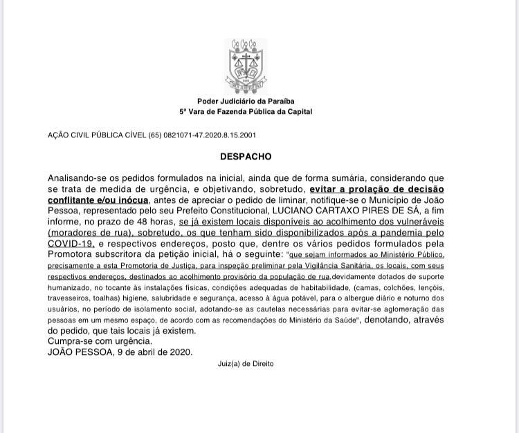 IMG 20200410 WA0173 - Juíza determina que a PMJP indique em 48h as Casas de Acolhimento para 700 pessoas de rua - VEJA DOCUMENTO