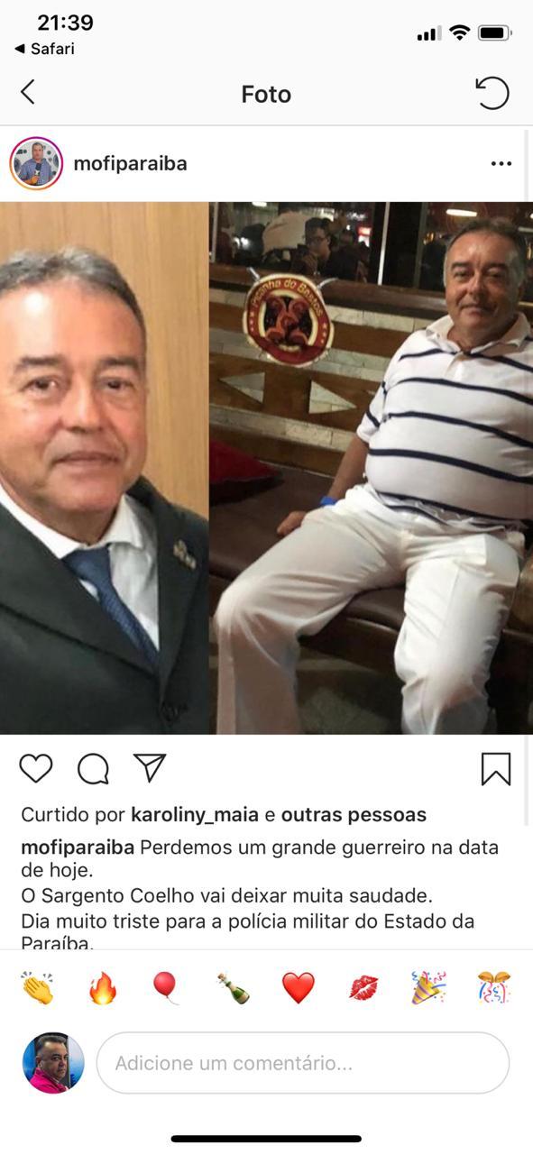 WhatsApp Image 2020 05 25 at 21.59.19 - LUTO: Morre em João Pessoa o Sargento Coelho, dos quadros da Polícia Militar da Paraíba
