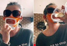 Mulher faz sucesso com máscara feita com embalagem de lenços umedecidos para bebê