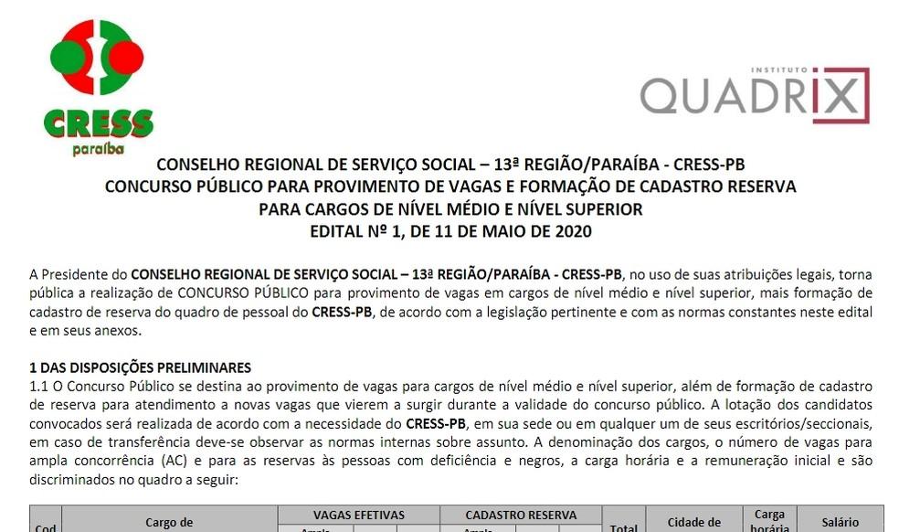 cresspb - Inscrições para concurso do Conselho Regional de Serviço Social terminam nesta segunda (10)