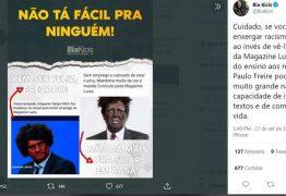 Deputada bolsonarista Bia Kicis faz post racista com Moro e Mandetta para 'criticar' Magazine Luiza