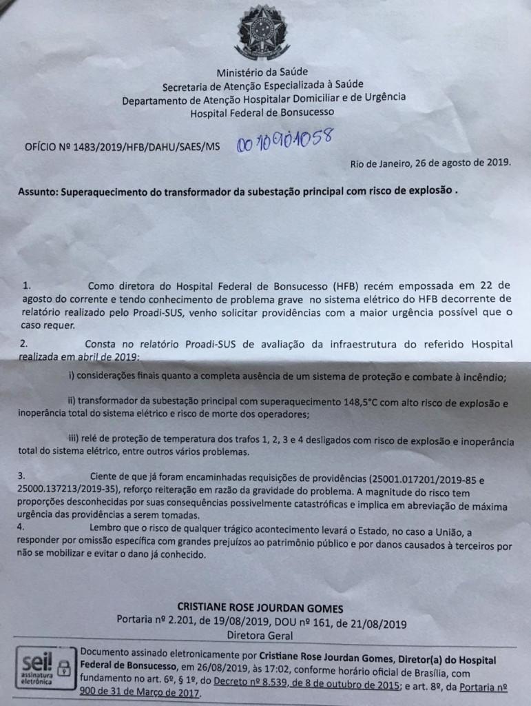 17527 34D503716E395DE5 - Diretora do hospital de Bonsucesso alertou para risco de tragédia; VEJA O DOCUMENTO