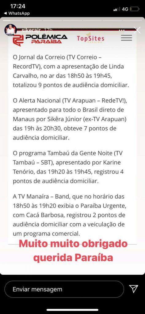 3e5337d2 04b7 4009 b51f 2d12a0d989b7 473x1024 - Sikêra Júnior agradece aos paraibanos pela audiência no programa Alerta Nacional