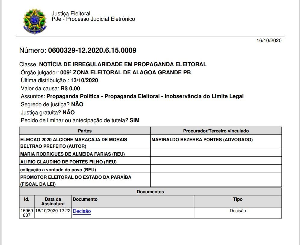 A1 - COMÍCIO IRREGULAR: justiça proíbe evento político que seria realizado neste sábado em Alagoinha, PB