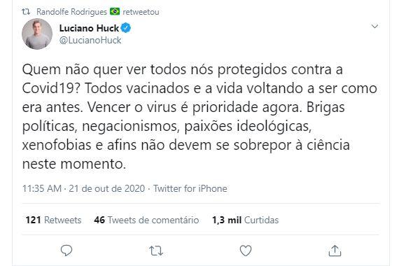 """Capturar 15 1 - Luciano Huck critica Bolsonaro: """"Brigas políticas não devem se sobrepor à ciência"""""""
