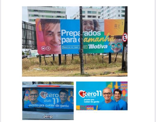 WhatsApp Image 2020 10 14 at 15.15.46 - 'MESMA PALETA DE CORES': Justiça manda colégio privado e Cícero Lucena retirarem outdoors 'semelhantes' das ruas