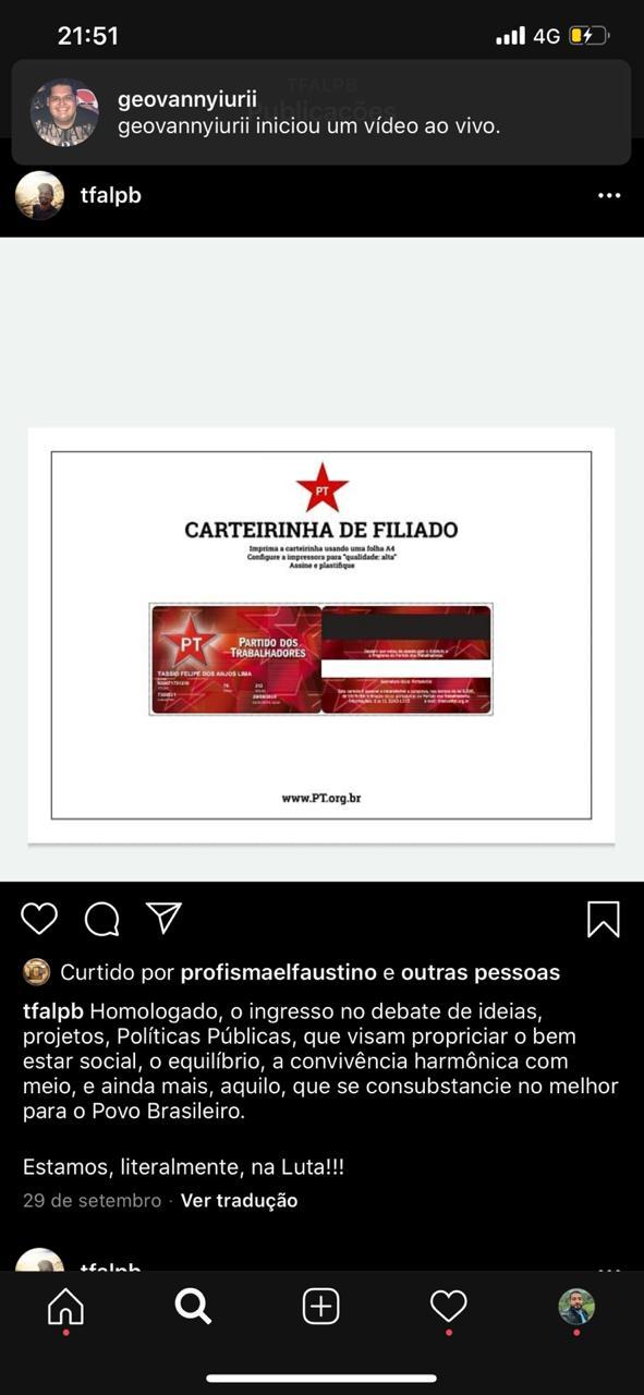 WhatsApp Image 2020 10 18 at 09.00.14 - Após discussão, militante do PT é assassinado com uma facada no peito na Paraíba