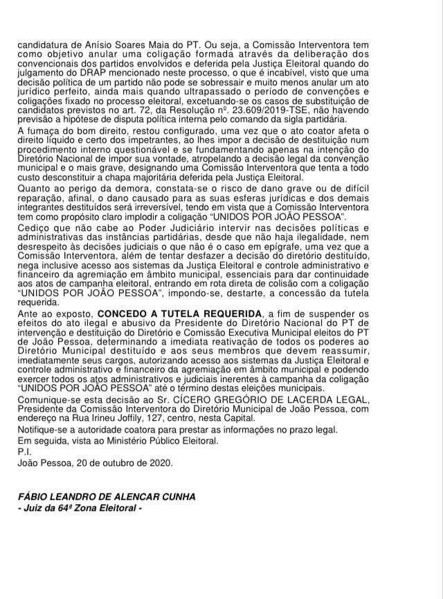 """WhatsApp Image 2020 10 20 at 09.06.12 - ATO ABUSIVO: Juiz anula intervenção do PT em João Pessoa;  """"Leia decisão na íntegra"""""""