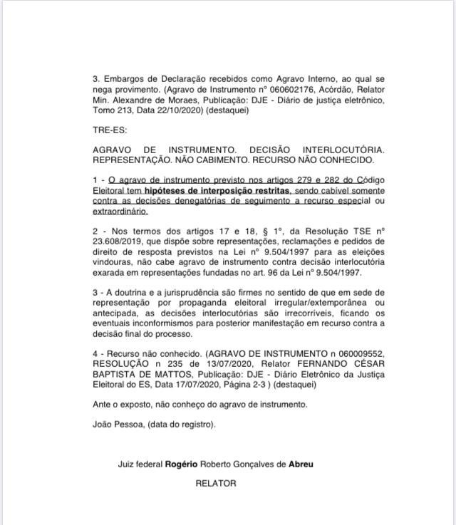 WhatsApp Image 2020 10 23 at 13.18.36 1 - Juiz nega recurso do PT nacional contra decisão que anulou a intervenção em João Pessoa; confira