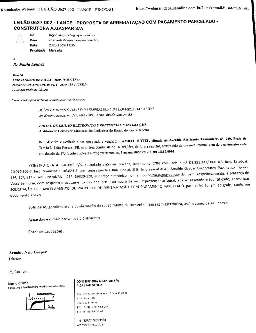 WhatsApp Image 2020 10 29 at 16.56.48 - NA VELOCIDADE DA LUZ: empresa que arrematou o Hotel Tambaú desiste da compra, e segundo lance deve ser contemplado; veja documento