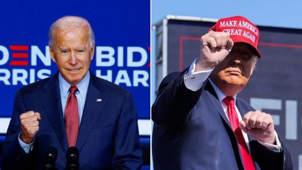 biden trump - 71% dos brasileiros que podem votar nos EUA preferem Biden, diz pesquisa