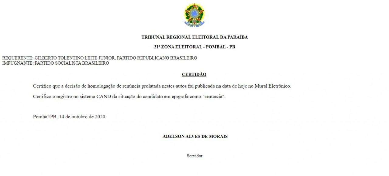 certidao - EM FAMÍLIA: Prefeito abre mão de disputar reeleição e cede vaga para a tia; confira